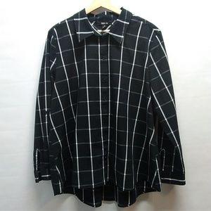 Style & Co. Black Plaid button down Size XL